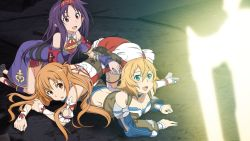 3girls all_fours asuna_(sao) bare_shoulders blue_eyes breasts brown_eyes brown_hair cleavage collarbone crop_top detached_sleeves game_cg hair_between_eyes hairband long_hair lying medium_breasts multiple_girls on_stomach open_mouth philia_(sao) pointy_ears purple_hair red_hairband short_hair sword_art_online yuuki_(sao)