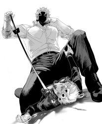 2boys blood dio_brando giorno_giovanna greyscale jojo_no_kimyou_na_bouken katana kisarazu_tetsuya monochrome multiple_boys nosebleed shaded_face stabbing sword weapon