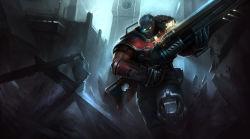1boy absurdres armor gun highres league_of_legends malcolm_graves solo weapon
