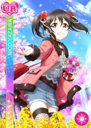 black_hair blush character_name dress flower long_hair love_live!_school_idol_festival love_live!_school_idol_project red_eyes sakura sky smile twintails yazawa_nico