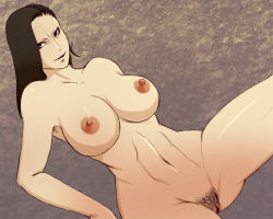 1girl black_hair breasts earrings large_breasts nude pubic_hair pussy shin_megami_tensei shin_megami_tensei_iv