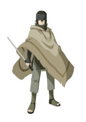 1boy ankle_wraps black_hair full_body headband hood naruto naruto:_the_last official_art poncho rinnegan sharingan solo standing sword uchiha_sasuke