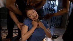 1girl animated animated_gif asian bdd-31 bdsm bondage dark_skin hetero interracial jail japanese kobayakawa_reiko leash multiple_boys photo