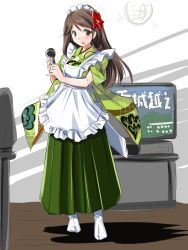 1girl alternate_costume amagi_(kantai_collection) apron brown_eyes brown_hair commentary_request disco_ball enmaided full_body furisode japanese_clothes kantai_collection karaoke kimono looking_at_viewer maid maid_apron maid_headdress microphone mole mole_under_eye obi open_mouth sash solo tatsumi_rei television