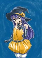 1girl blue_background blue_hair brown_hair child fairy_tail halloween_costume hat long_hair looking_at_viewer mashima_hiro pumpkin smile solo striped striped_legwear wendy_marvell witch_hat