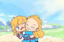 ^_^ animated animated_gif blonde_hair blue_eyes blush blush_stickers braids couple day french_braid happy hug link long_hair outside pointy_ears princess_zelda sky smile the_legend_of_zelda the_legend_of_zelda:_breath_of_the_wild