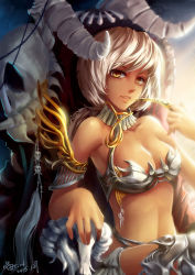 1girl armlet armor bare_shoulders bikini_armor blonde_hair breasts cleavage collarbone dark_skin gorget hand_to_own_mouth horns looking_at_viewer parted_lips short_hair sitting skull slit_pupils smile solo yellow_eyes