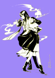 1boy 1girl black_hair cigar cloak fate_(series) gray_(lord_el-melloi_ii) kuro888orange long_hair lord_el-melloi_ii lord_el-melloi_ii_case_files monochrome smoke smoking waver_velvet