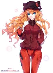1girl animal_ears animal_hat artist_name badge bangs blue_eyes bodysuit bubble_blowing bubblegum button_badge cabbie_hat cat_hat character_name chewing_gum colored_eyelashes copyright_name cowboy_shot digital_media_player duct_tape earbuds earphones evangelion:_3.0_you_can_(not)_redo fake_animal_ears floating_hair gradient gradient_eyes green_eyes hair_between_eyes hand_in_pocket harin_0 hat hat_ornament holding jacket lens_flare long_hair looking_at_viewer multicolored_eyes neon_genesis_evangelion orange_hair pilot_suit plugsuit rebuild_of_evangelion simple_background single_vertical_stripe small_breasts solo soryu_asuka_langley sparkle standing track_jacket turtleneck twitter_username very_long_hair walkman wavy_hair white_background zipper