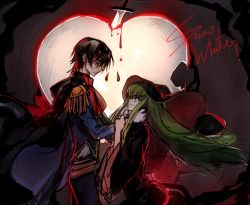 black_hair blood c.c. cape code_geass creayus dagger green_hair hat heart lelouch_lamperouge weapon witch_hat yellow_eyes