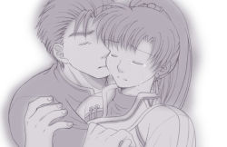 1boy 1girl crying dress earrings eyes_closed fire_emblem fire_emblem:_rekka_no_ken hector hug lyndis_(fire_emblem) monochrome ponytail shirt tagme tears