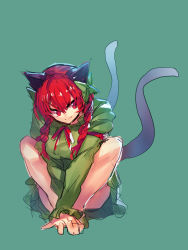1girl animal_ears black_bow bow braid cat_ears cat_tail dress green_background green_dress hair_bow highres kaenbyou_rin long_hair long_sleeves multiple_tails red_eyes red_hair red_ribbon ribbon simple_background smile solo squatting tail temmasa22 touhou twin_braids two_tails