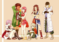 3girls 4boys afro arm_hug bandanna everyone final_fantasy final_fantasy_xiii hope_estheim lightning_farron multiple_boys multiple_girls oerba_dia_vanille oerba_yun_fang sash sazh_katzroy snow_villiers