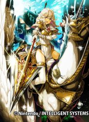 1girl armor blonde_hair braid breastplate brown_eyes cloud company_name daigoman effie_(fire_emblem) fire_emblem fire_emblem_cipher fire_emblem_echoes:_mou_hitori_no_eiyuuou gloves long_hair official_art open_mouth pegasus pegasus_knight polearm riding sky solo thighhighs twin_braids weapon white_gloves