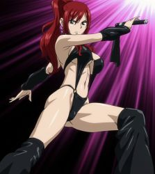 1girl bikini breasts brown_eyes cleavage dominatrix earings erza_scarlet fairy_tail highres large_breasts latex long_hair navel ponytail red_hair screencap solo stitched swimsuit whip