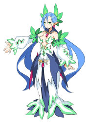 1girl blue_hair breasts center_opening cleavage disgaea dress earrings green_eyes jewelry leaf long_hair low_twintails makai_senki_disgaea_5 nippon_ichi official_art pointy_ears sage_(disgaea) simple_background solo twintails very_long_hair white_background