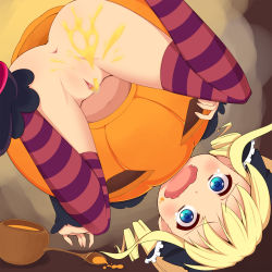 akechi_kokoro anus artist_request ass black_ribbon blonde_hair blue_eyes censored costume drill_hair food halloween insertion loli looking_down no_panties open_mouth peeing pumpkin pussy ribbon scared soup spoon straw tantei_opera_milky_holmes tears thighhighs urethral_insertion