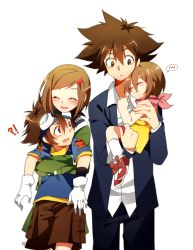 !? 2boys 2girls ^_^ age_difference blush brother_and_sister brown_hair carrying digimon digimon_adventure dual_persona embarrassed eyes_closed gloves goggles goggles_on_head hair_ornament hairclip hug hug_from_behind long_sleeves looking_back maro_(lij512) multiple_boys multiple_girls older red_eyes scarf school_uniform shoes short_hair shorts siblings skirt smile socks star time_paradox yagami_hikari yagami_taichi