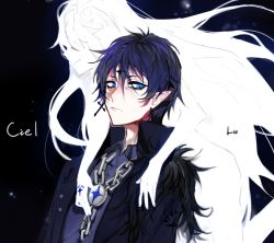 1boy 1girl black_background black_hair blue_eyes chains character_name ciel_(elsword) coat elsword expressionless facial_mark forehead_mark fur_trim hair_over_eyes ichigawa_(lethe) jewelry long_hair lu_(elsword) pointy_ears single_earring smile symbol-shaped_pupils tattoo white_hair white_skin