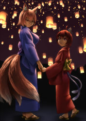 2girls :o ahoge alternate_costume animal_ears blonde_hair breasts brown_hair cat_ears cat_tail chen earrings fox_ears fox_tail full_body half-closed_eyes hand_holding japanese_clothes jewelry kimono lantern large_breasts light_smile looking_at_viewer looking_down looking_up multiple_girls multiple_tails night night_sky obi obon outdoors paper_lantern ragi_(schrdngr) red_eyes sandals sash short_hair single_earring sky standing tail touhou yakumo_ran yukata