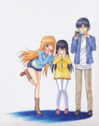 1boy 2girls absurdres black_hair blue_eyes blue_jacket blue_shorts boots brown_boots brown_pants camera charlotte_(anime) eyebrows_visible_through_hair eyes_closed floating_hair full_body glasses grey_background hand_on_another's_shoulder highres holding holding_camera huge_filesize jacket leaning_forward long_hair looking_at_viewer miniskirt multiple_girls na-ga nishimori_yusa one_eye_closed one_leg_raised open_clothes open_jacket orange_hair otosaka_ayumi pants pleated_skirt red_skirt shirt short_shorts shorts skirt standing sweater takajou_joujirou thighhighs very_long_hair white_legwear white_shirt yellow_sweater