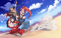 1girl 2boys between_breasts bikini_top blue_hair blue_sky boota clenched_teeth cloud gun kamina lagann mecha multiple_boys open_mouth pointing ponytail red_hair rifle scarf shirtless simon sky smile tattoo teeth tengen_toppa_gurren_lagann tetsu_(teppei) weapon yoko_littner