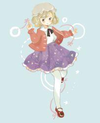 1girl alternate_costume hat maribel_hearn onigiri_(ginseitou) pantyhose ribbon short_hair skirt smile solo touhou white_legwear yellow_eyes