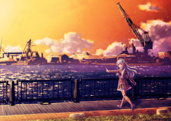 1girl aqua_eyes aqua_hair ascot back brown_legwear building cloud crane hair_ornament hairclip jacket kantai_collection long_hair looking_back machinery ocean open_mouth paraiso pleated_skirt shipyard skirt smile solo sunset suzuya_(kantai_collection) thighhighs water