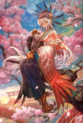 1girl architecture bangs bird blue_sky branch bridge cherry_blossoms claws closed_mouth day eagle east_asian_architecture feathers flower full_body hair_feathers hair_flower hair_ornament hakama harpy highres japanese_clothes kimono lack long_hair long_sleeves looking_at_viewer monster_girl new_year obi original outdoors petals sash silver_hair sitting sitting_on_stairs sky slit_pupils smile solo stairs talons torii tree very_long_hair white_hair wide_sleeves year_of_the_rooster yellow_eyes