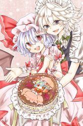 2girls ascot bat_wings blue_dress blue_eyes blue_hair bow braid brooch cake dress fang food izayoi_sakuya jewelry maid maid_headdress maru_usagi mob_cap multiple_girls open_mouth pink_dress puffy_short_sleeves puffy_sleeves red_eyes remilia_scarlet short_sleeves smile touhou twin_braids wings wrist_cuffs