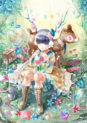 ambiguous_gender antlers bangs black_hair blue_eyes blunt_bangs boots bottle butterfly colored_pencil cross-laced_footwear deer dress flower jar lace-up_boots lace_hairband mushroom origami pencil plant rocking_horse scissors shorts striped striped_shorts stuffed_animal stuffed_toy sunlight yaguchi_minato