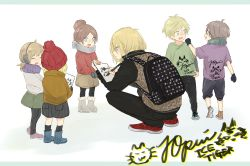 3boys 3girls ^_^ animal_print backpack bag black_legwear blonde_hair blue_eyes boots brown_hair child coat earmuffs eyes_closed green_eyes hair_bun hat highres jacket kou_(coo00) leopard_print multiple_boys multiple_girls open_mouth pen scarf signature smile squatting writing yuri!!!_on_ice yuri_plisetsky