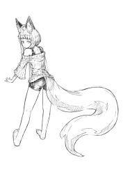 1girl ahoge animal_ears ass back bare_legs barefoot commentary_request fox_ears fox_girl fox_tail from_behind full_body greyscale jaco leaning_forward looking_back monochrome off-shoulder_sweater original outstretched_arms short_hair shorts sidelocks sketch solo standing sweater tail thick_eyebrows white_background