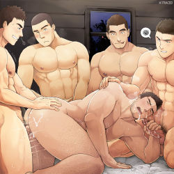 5boys abs anal ass bara bed blush body_hair cum cum_in_mouth cum_on_body drooling facial fellatio gangbang grin group_sex handjob happy_sex multiple_boys muscle naughty_face nude orgy pecs saliva sex smile smirk teeth thrusting tongue tongue_out uncensored wince window winemvee yaoi
