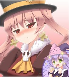 >:d 2girls :d akeyama animal_hat blood blush bunny_hat clenched_hands closed_mouth cross cross_earrings dolce_(rune_factory) earrings embarrassed eyebrows_visible_through_hair frown fur_collar gradient gradient_background green_eyes hair_between_eyes hat head_tilt jewelry long_hair looking_at_viewer multiple_girls nose_blush nosebleed open_mouth pico_(rune_factory) pink_background pink_hair pointy_ears purple_hair red_eyes rune_factory rune_factory_4 smile sparkle sparkling_eyes top_hat tsurime twintails whiskers  _ 