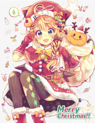 1girl :d absurdres ahoge animal_hat antlers argyle argyle_legwear bangs bell belt black_wings blonde_hair blush boots bow bowtie box braid cake cat_hat christmas christmas_tree crescent crescent_hair_ornament cup drinking_glass drinking_straw fang flower food fur-trimmed_boots fur-trimmed_hat fur-trimmed_skirt gift gift_box green_eyes hair_bow hair_ornament hair_over_shoulder hairpin hat hat_bow hat_pin highres holly_hair_ornament jack-o'-lantern long_hair looking_at_viewer merry_christmas mismatched_legwear niikura_kaori open_mouth original over_shoulder party_hat rose sack salute single_braid slice_of_cake smile snowman solo spoken_sweatdrop star string_of_flags striped striped_legwear sweatdrop thighhighs torn_clothes torn_thighhighs vertical-striped_legwear vertical_stripes wings x_hair_ornament yellow_bow yellow_bowtie