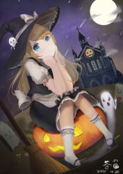 1girl apron blonde_hair blue_eyes broom castle cha_jun chin_rest dated dutch_angle full_moon ghost grave halloween hat highres jack-o'-lantern kirisame_marisa knees_together_feet_apart moon night night_sky shooting_star signature sitting sky smile socks star star-shaped_pupils symbol-shaped_pupils touhou waist_apron witch_hat
