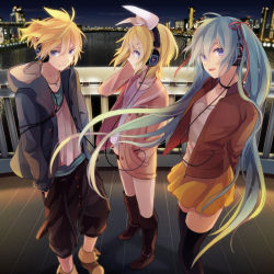 1boy 2girls akiyoshi_(tama-pete) blonde_hair choker hand_in_pocket hatsune_miku headphones hoodie jewelry kagamine_len kagamine_rin long_hair multiple_girls necklace night short_hair skirt thighhighs twintails very_long_hair vocaloid