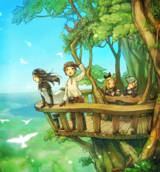 2boys 2girls agnes_oblige balcony bird black_hair blonde_hair blue_sky bow bravely_default:_flying_fairy bravely_default_(series) brown_gloves brown_hair chiharu_(dididididinosaur) cup drinking edea_lee elbow_gloves food gloves hair_bow horizon ice_cream lake multiple_boys multiple_girls open_mouth railing ringabel shirt silver_hair sky smile squirrel sundae table teacup tiz_oria tree