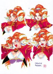 1girl artist_request character_request cleavage earrings green_eyes orange_hair source_request