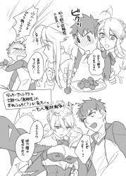 1boy 1girl ahoge artoria_pendragon_lancer_(fate/grand_order) blush braid breasts cape chopsticks cleavage crown emiya_shirou eyebrows_visible_through_hair eyes_closed fate/grand_order fate_(series) finger_in_mouth food fur_trim highres jacket large_breasts long_hair open_mouth otama_(user_amn0382) ribbon saber translation_request
