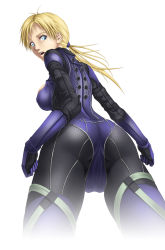 1girl ass back backboob blonde_hair blue_eyes bodysuit breasts cameltoe from_behind highres jill_valentine large_breasts legs long_hair looking_back open_mouth ponytail resident_evil resident_evil_5 simple_background solo standing thighs thor_(deep_rising) white_background