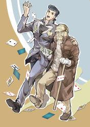 2boys absurdres beard blue_hair cane card facial_hair father_and_son gakuran gloves hat higashikata_jousuke highres jojo_no_kimyou_na_bouken joseph_joestar long_coat multiple_boys playing_card pompadour school_uniform shicewlysml