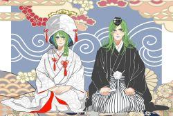 ami_(sjq735299180) blue_hair fan folding_fan green_hair hat japanese_clothes jojo_no_kimyou_na_bouken kimono kuujou_jolyne long_hair multicolored_background multicolored_hair narciso_anasui seiza sitting striped two-tone_hair uchikake unmoving_pattern