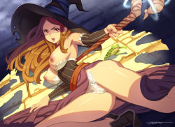 1girl alternate_breast_size armpits bare_shoulders breasts breasts_outside brown_hair cameltoe detached_sleeves dragon's_crown dress erotibot frog hat long_hair looking_at_viewer magic nipples open_mouth panties solo sorceress_(dragon's_crown) staff strapless_dress underwear witch_hat