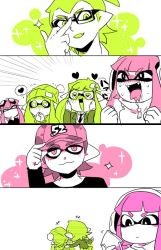 2boys 4girls baseball_cap blush cellphone commentary_request domino_mask drooling fangs female_inkling female_pervert glasses green_eyes green_hair hat heart heart-shaped_pupils inkling male_inkling mask multiple_boys multiple_girls nana_(raiupika) pervert phone pink_eyes pink_hair sparkle splatoon symbol-shaped_pupils tentacle_hair