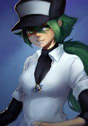 1girl 34_(hakunimu) baseball_cap breasts genderswap green_eyes green_hair hat jewelry long_hair n_(pokemon) necklace pokemon ponytail solo