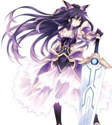 1girl armor armored_dress choker date_a_live dress gloves highres long_hair looking_at_viewer pauldrons ponytail purple_eyes purple_hair serious simple_background solo standing sword tsunako weapon white_background yatogami_tooka