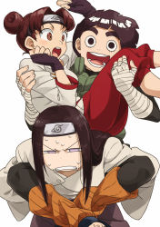 1girl 2boys angry artist_request black_eyes black_hair bowl_cut brown_eyes brown_hair carrying double_buns forehead_protector hair_bun happy hyuuga_neji multiple_boys naruto naruto_shippuuden open_mouth piggyback princess_carry rock_lee sweat tenten