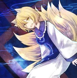 1girl animal_ears bangs blonde_hair blue_background breasts dress energy floating fox_ears fox_tail hair_between_eyes koto_(shiberia39) long_sleeves looking_at_viewer multiple_tails no_hat open_mouth perspective short_hair sitting slit_pupils smile solo tabard tail touhou white_dress wide_sleeves yakumo_ran yellow_eyes